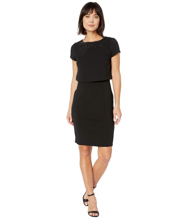 アドリアナ パペル レディース ワンピース トップス Embellished Popover Sheath Dress Black