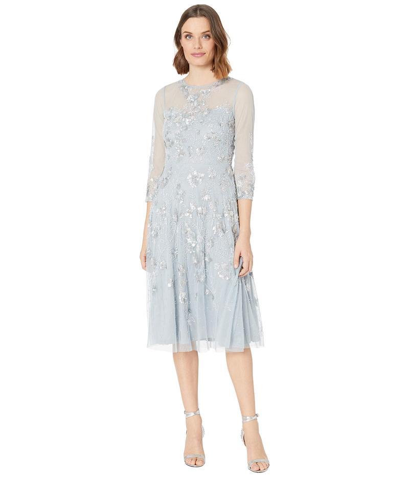 アドリアナ パペル レディース ワンピース トップス Beaded Covered Midi Fit-and-Flare Cocktail Dress Blue Heather