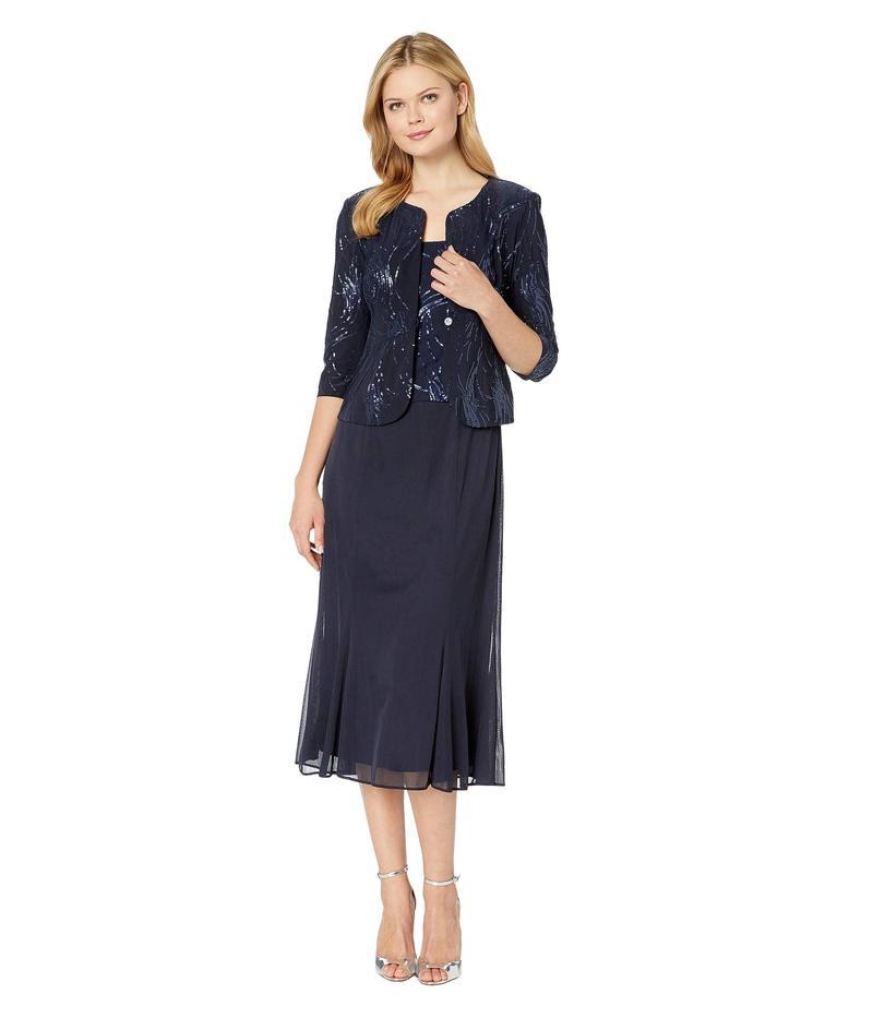 アレックスイブニングス レディース ワンピース トップス Tea Length Mock Jacket Dress with Sequin Detail Navy