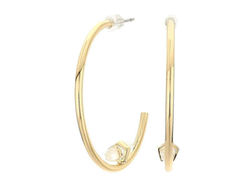 オールセインツ レディース ピアス・イヤリング アクセサリー Stone Open Hoop Earrings Quartz Crystal/Gold