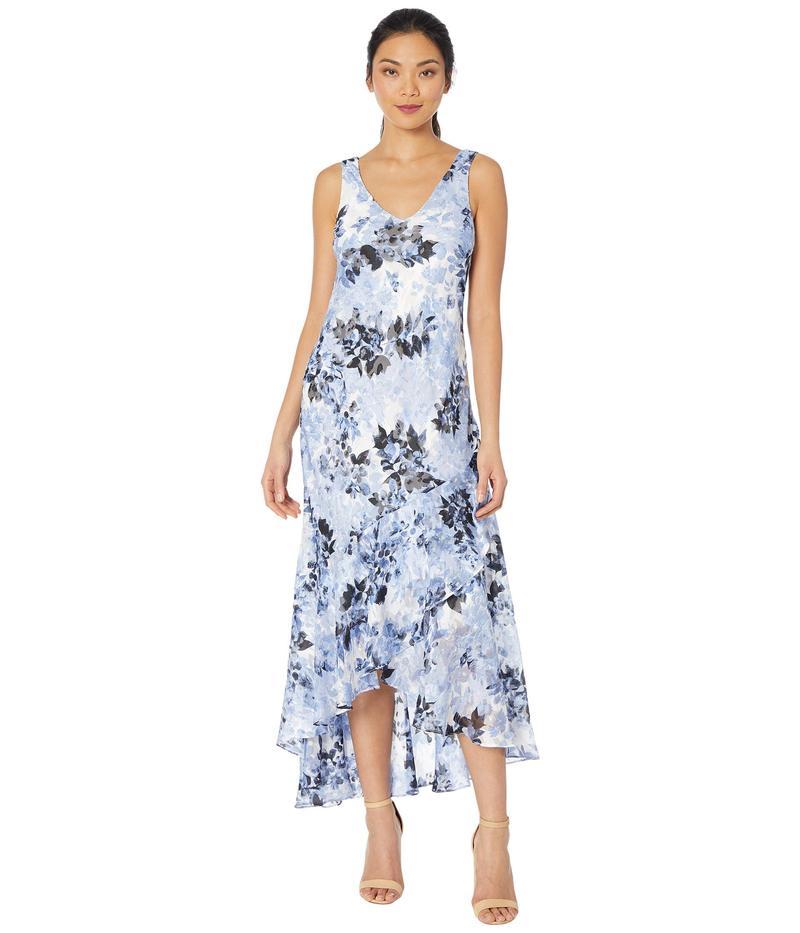 アレックスイブニングス レディース ワンピース トップス Long Printed Burnout Chiffon High-Low Dress with Shawl Black/Hydrangea