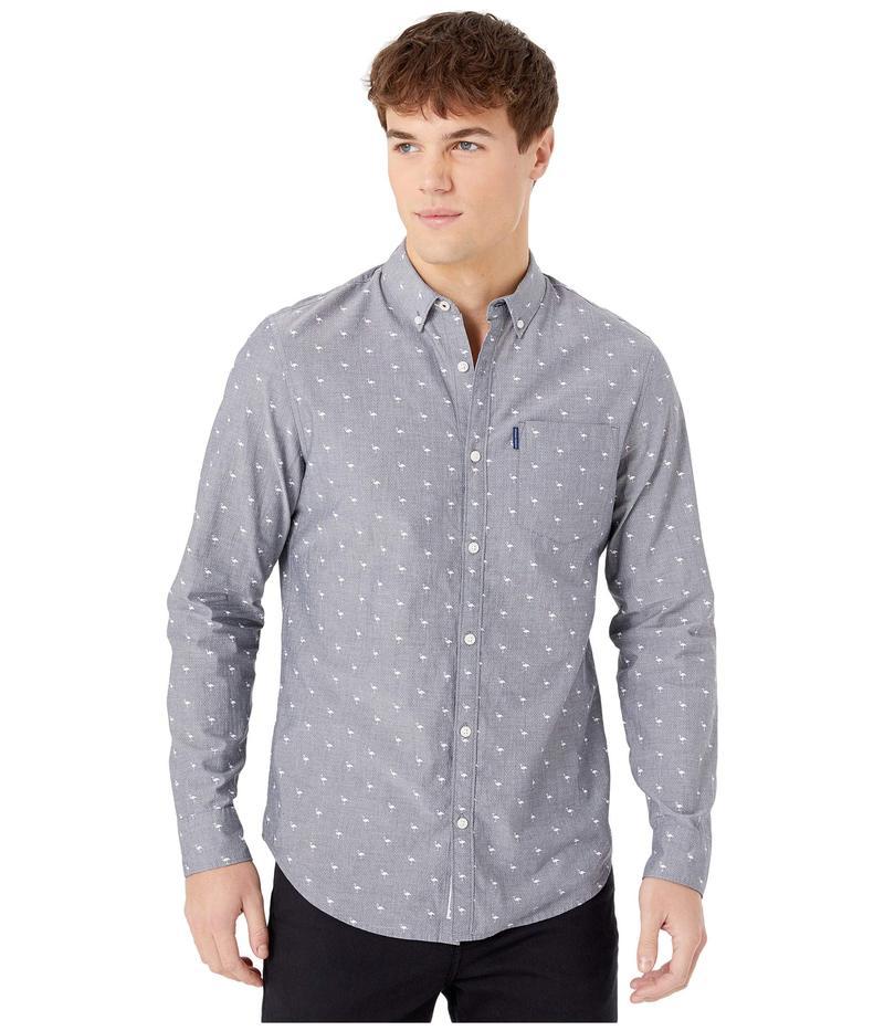オリジナルペンギン メンズ シャツ トップス Dobby Flamingo Print Long Sleeve Button-Down Shirt Dark Sapphire