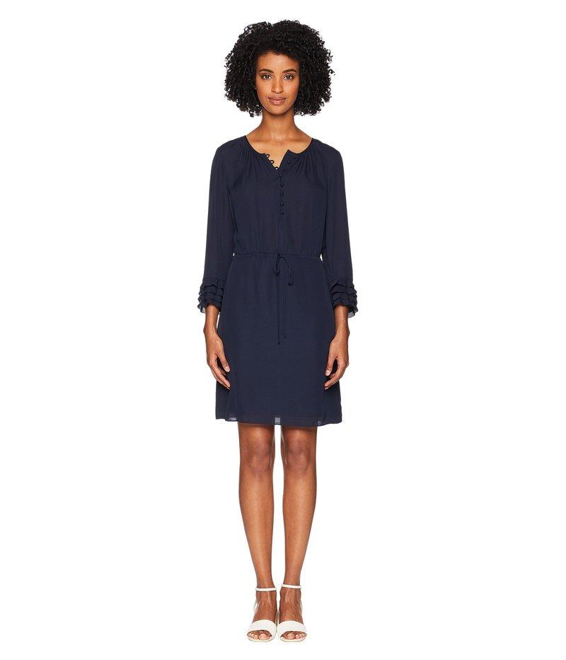 レベッカテイラー レディース ワンピース トップス Long Sleeve Georgette Ruffle Dress Navy/Navy