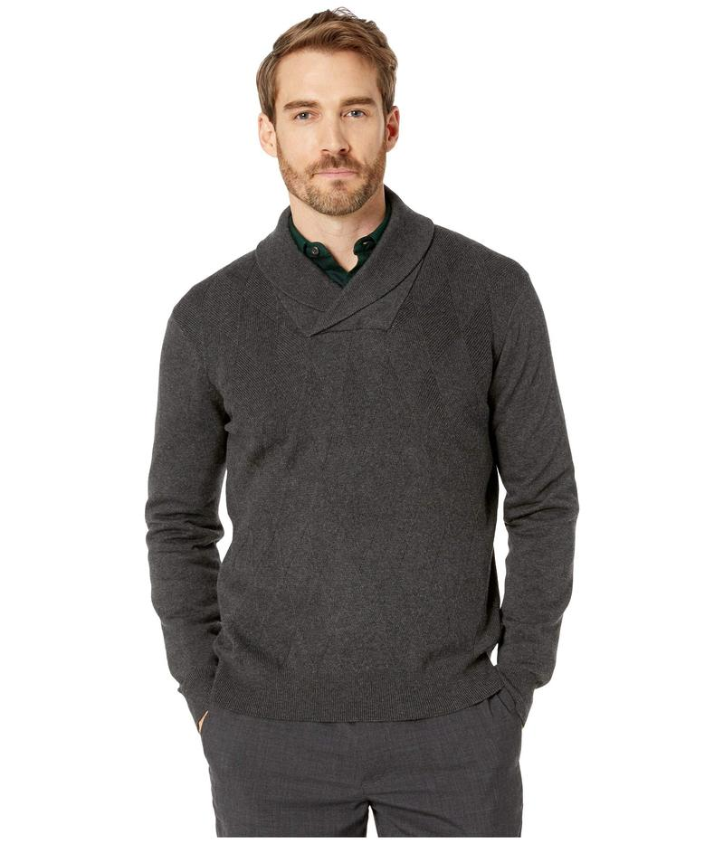 ペリーエリス メンズ ニット・セーター アウター Argyle Shawl Collar Long Sleeve Sweater Charcoal Heather