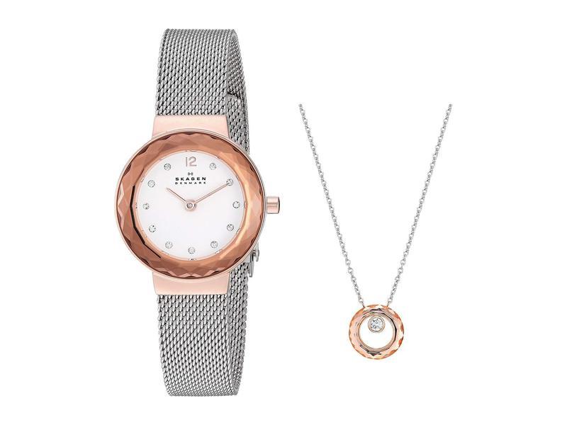 スカーゲン レディース 腕時計 アクセサリー Leonora Box Set Watch & Necklace Box Set - SKW1112 Rose