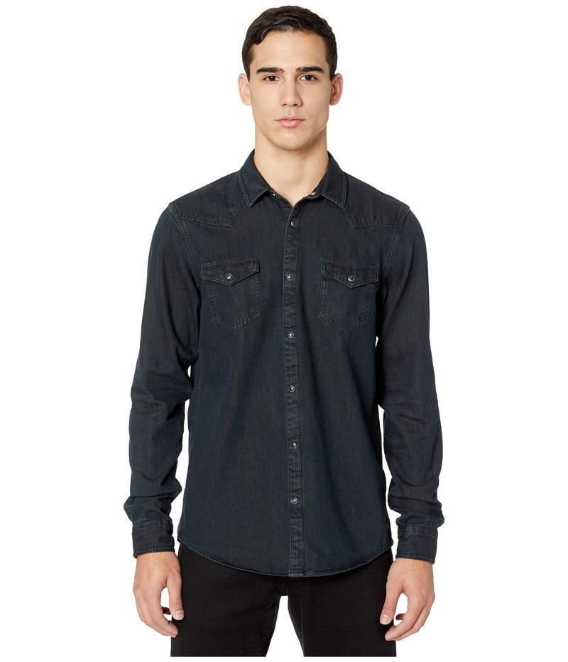 スコッチアンドソーダ メンズ シャツ トップス Ams Blauw Denim Western Shirt in Seasonal Washes Black