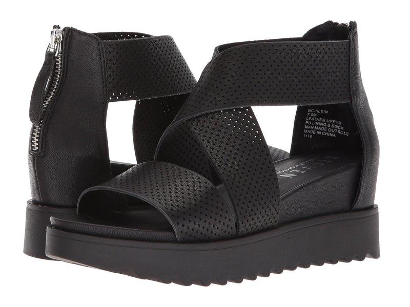 Leather ニューヨーク レディース スティーブン NC-Klein Sandal Wedge Black シューズ ヒール