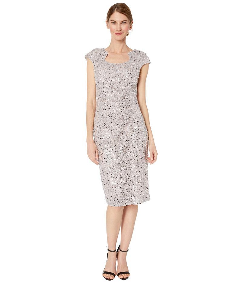 タハリ レディース ワンピース トップス Petite Cap Sleeve Sequin Stretch Lace Side Draped Dress Silver Mist