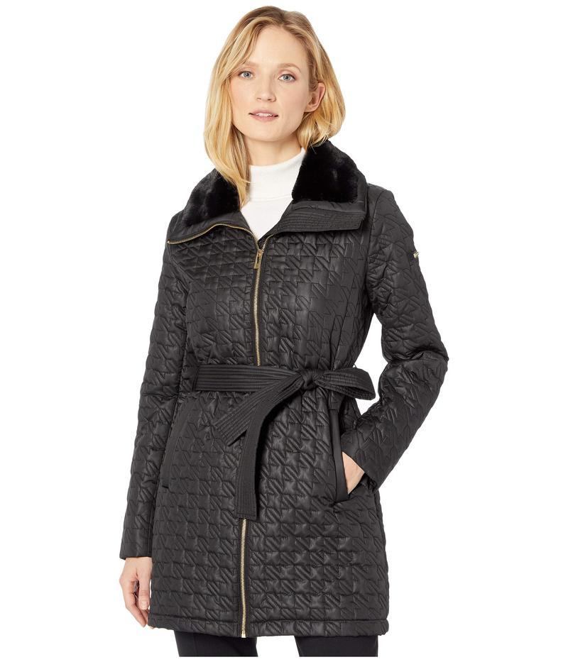ヴィアスピガ レディース コート アウター Houndstooth Stitched Quilt with Faux Fur Collar Black