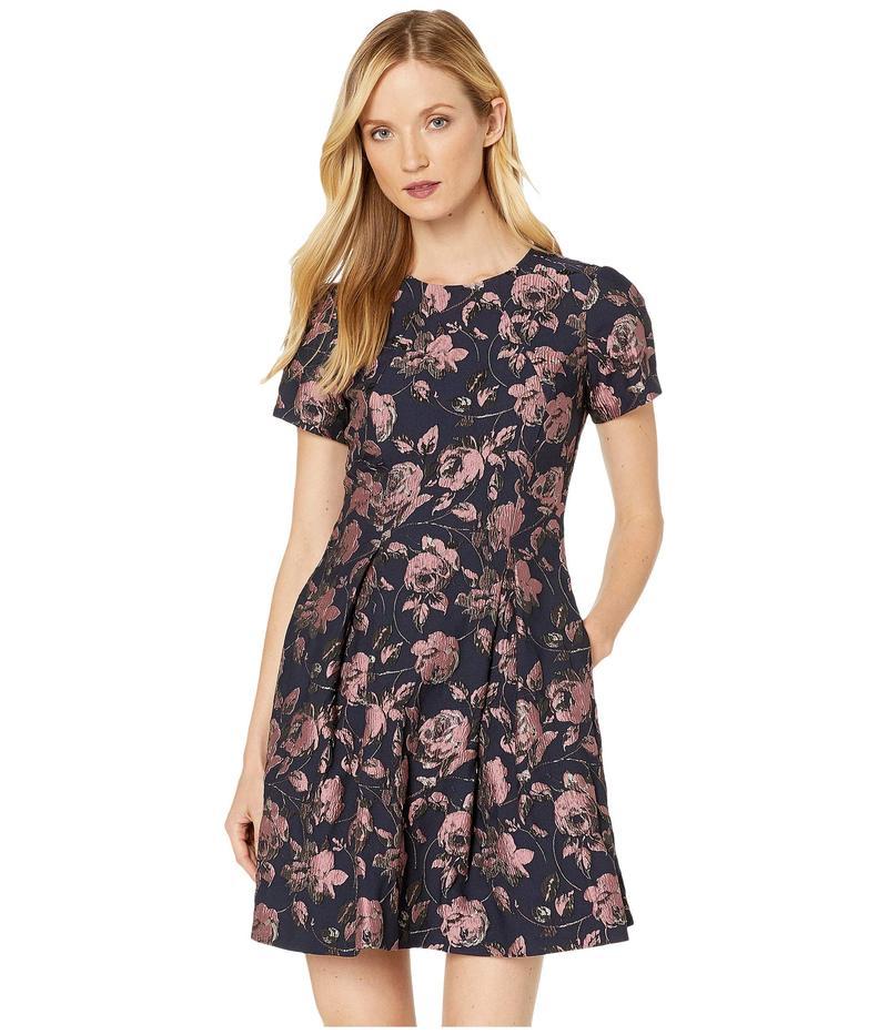 ヴィンスカムート レディース ワンピース トップス Jacquard Short Sleeve Fit-and-Flare Dress Pink Multi