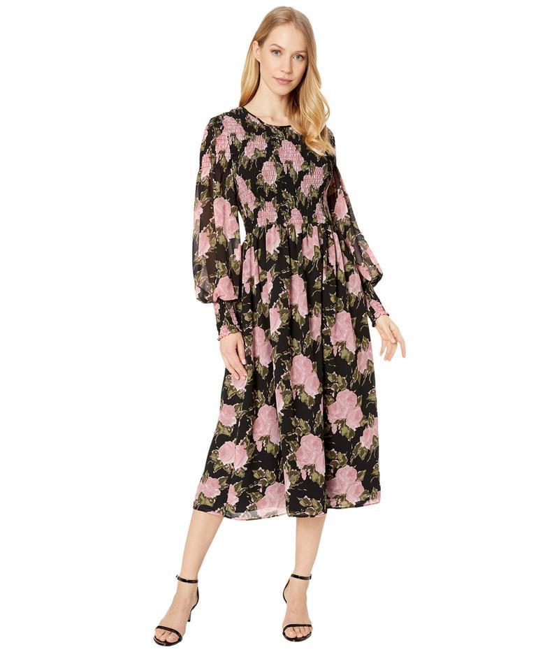 ワイフ レディース ワンピース トップス Crush Smocked Bodice Long Sleeve Midi Dress Black Roses