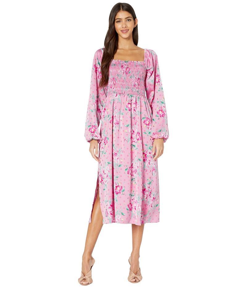 ワイフ レディース ワンピース トップス Ever After Smpocked Bodice Long Sleeve Midi Dress Pink Floral Dot Jacquard
