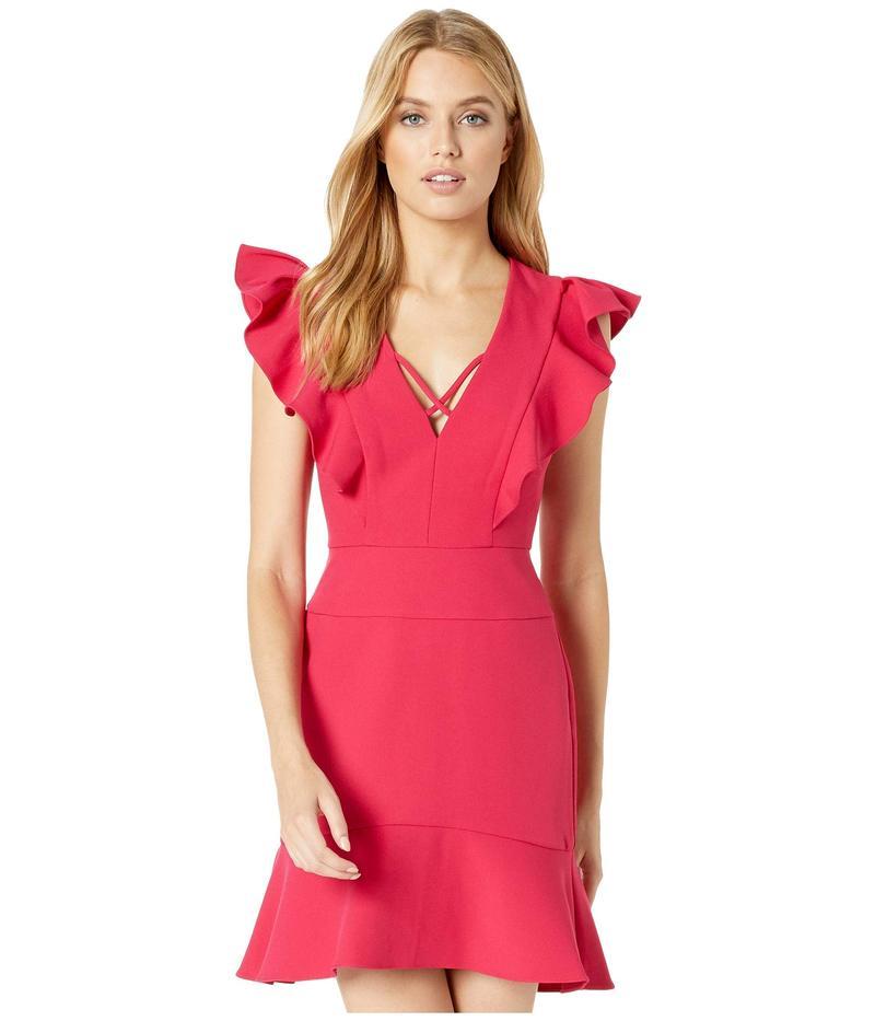 ビーシービージーマックスアズリア レディース ワンピース トップス Short Ruffle Dress with Lace-Up Detail Sangria