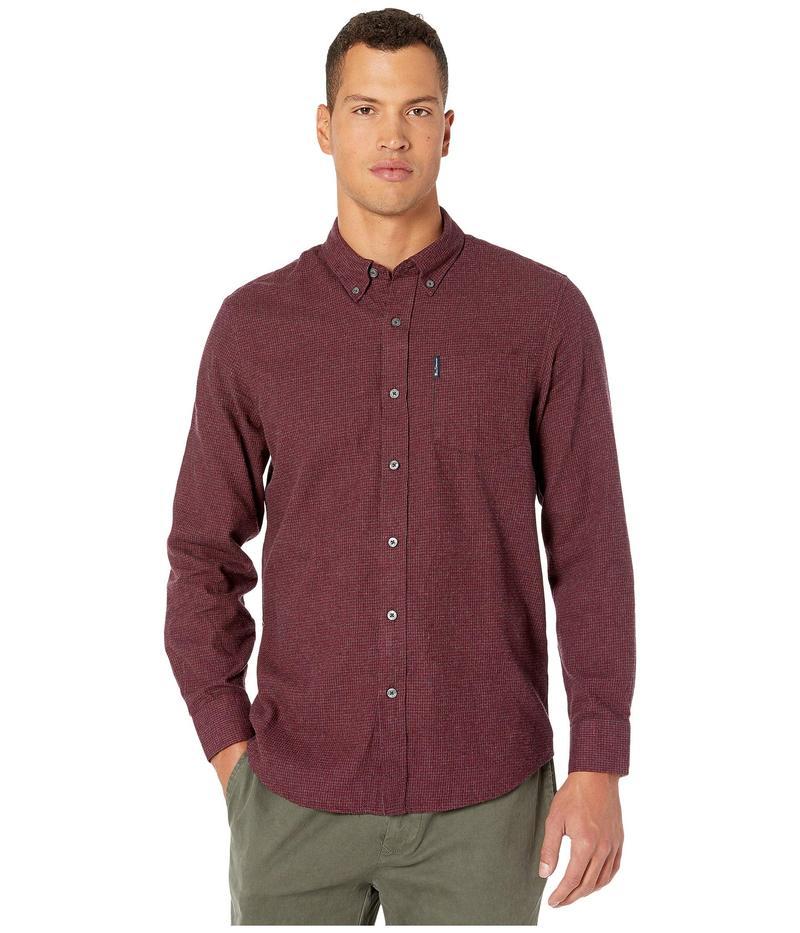 ベンシャーマン メンズ シャツ トップス Long Sleeve Brushed Dogtooth Shirt Wine