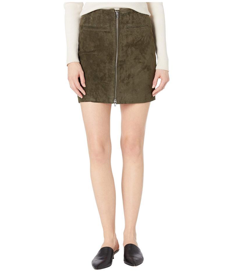 ブランクニューヨーク レディース スカート ボトムス Real Suede Skirt with Zipper Detail in Olive Green Olive Green