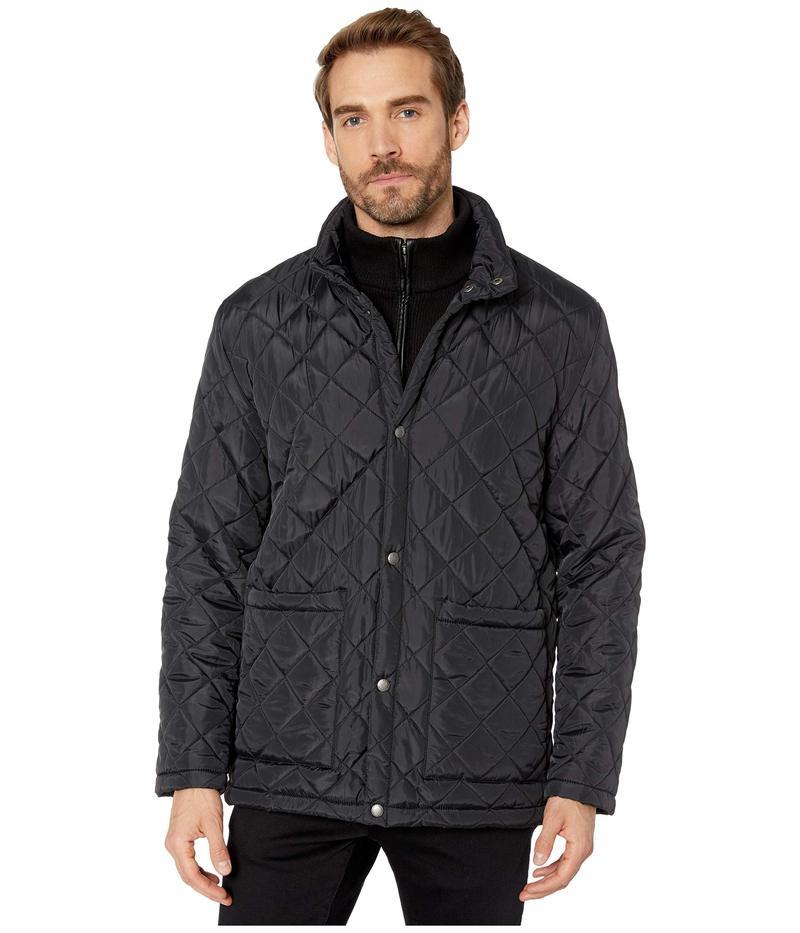 コールハーン メンズ コート アウター Diamond Quilted Jacket w/ Knit Bib Black