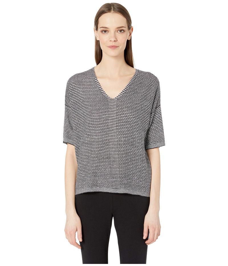 エイリーンフィッシャー レディース ニット・セーター アウター Organic Linen Knit V-Neck Elbow Sleeve Top Ivory