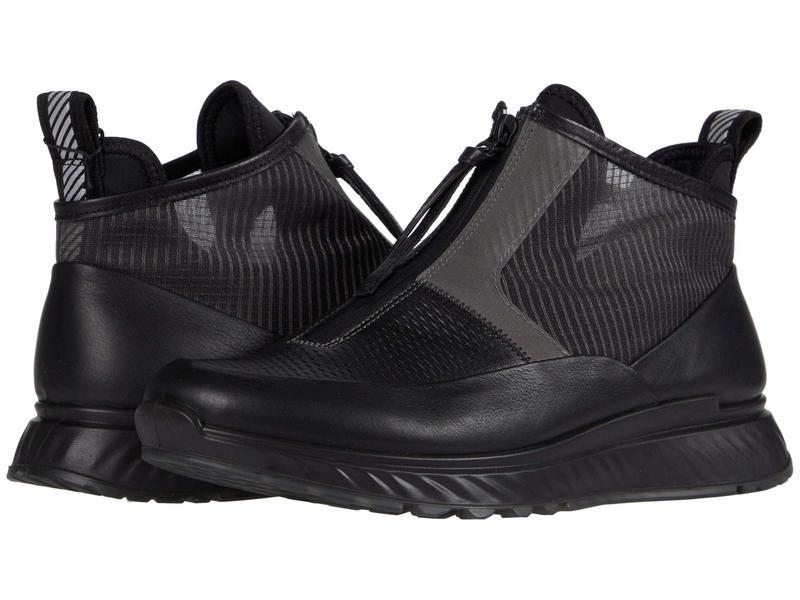 エコー メンズ スニーカー シューズ ST.1 Mid Cut Zip Sneaker Black/Titanium