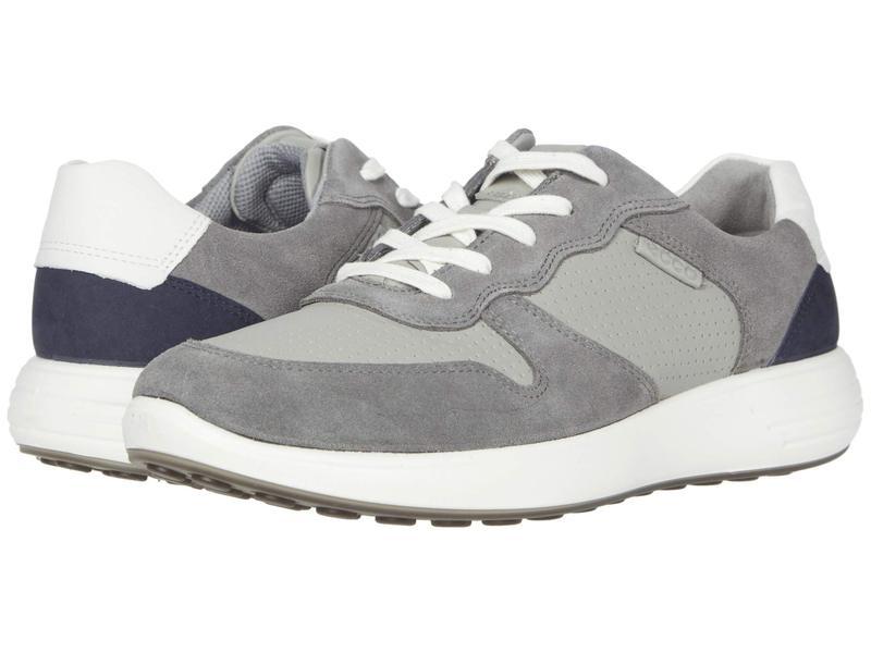 エコー メンズ スニーカー シューズ Soft 7 Runner Retro Sneaker Titanium/Wild Dove/White/Navy