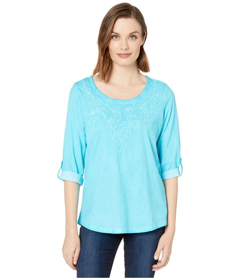 FDJフレンチドレッシングジーンズ レディース シャツ トップス Solid Jersey Embroidered Tab Up Sleeve Top Azure