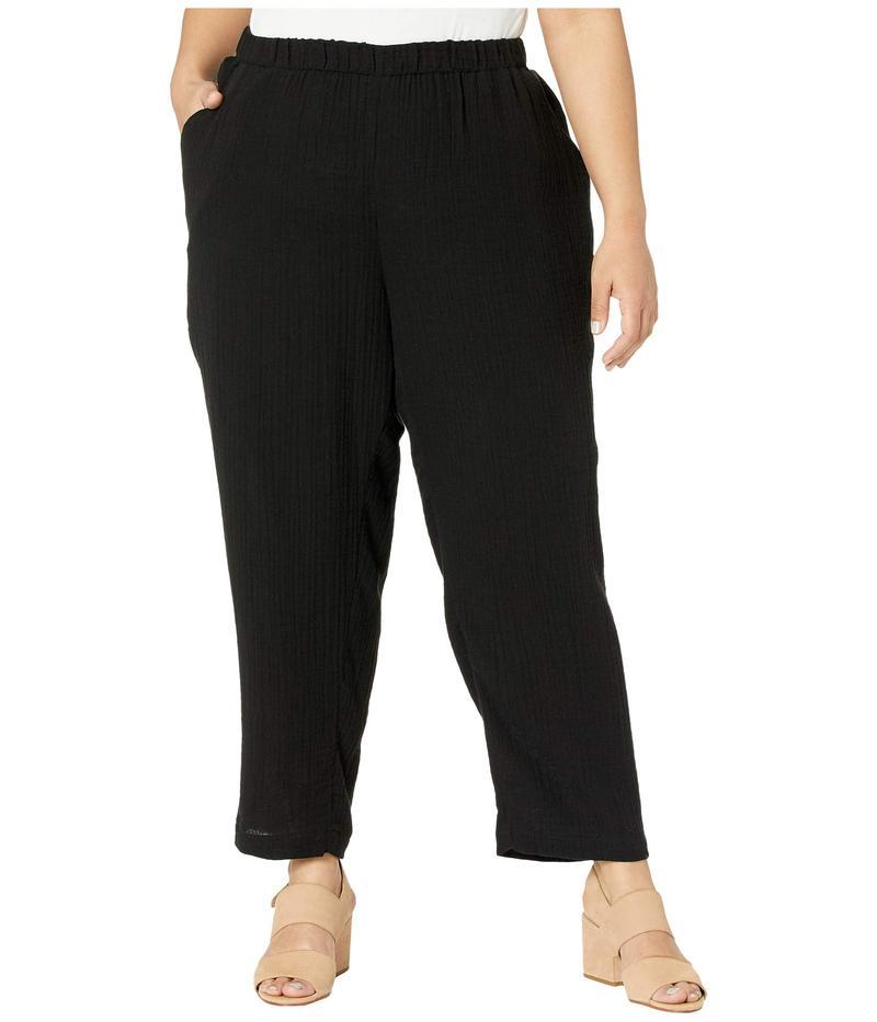 エイリーンフィッシャー レディース カジュアルパンツ ボトムス Plus Size Organic Cotton Lofty Gauze Ankle Pants Black