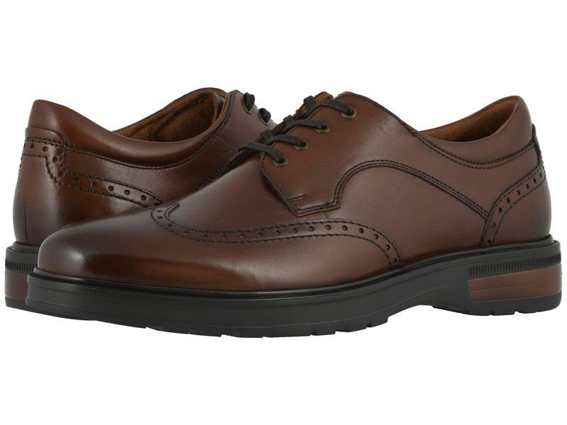 フローシャイム メンズ オックスフォード シューズ Astor Wing Tip Oxford Cognac Smooth/Brown Sole