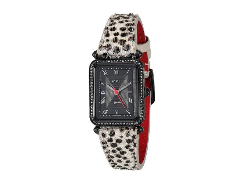 フォッシル レディース 腕時計 アクセサリー Lyric Three-Hand Watch ES4719 Black Faux Cheetah Hair Leather