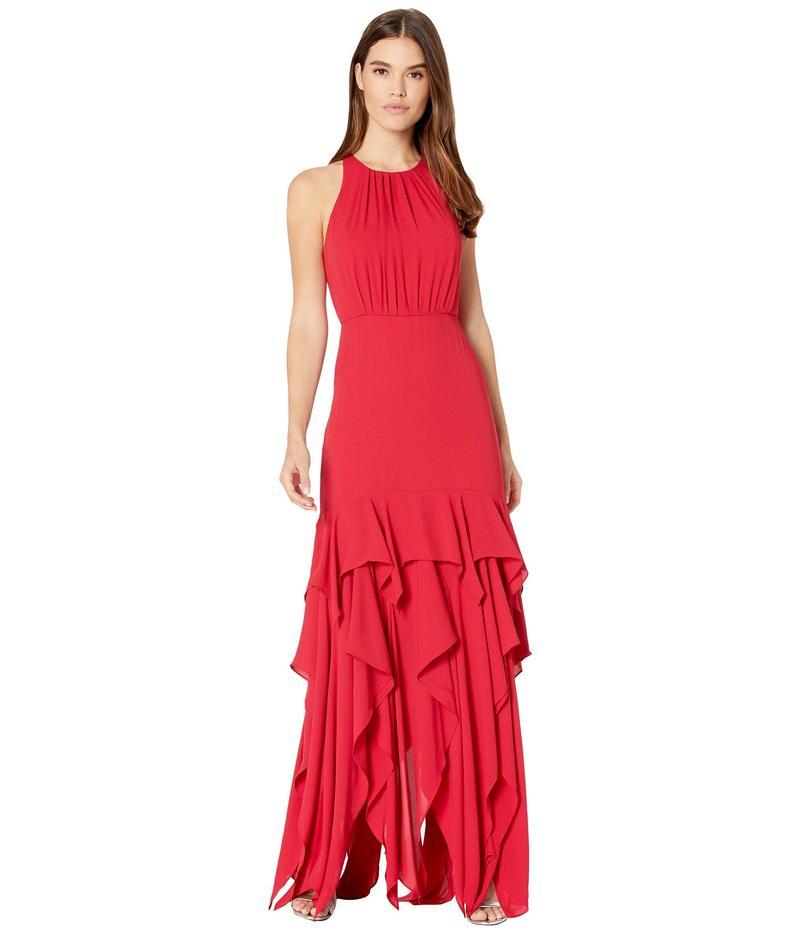 ホルストンヘリテイジ レディース ワンピース トップス Sleeveless Ruffle Skirt Silky Georgette Gown Carmine