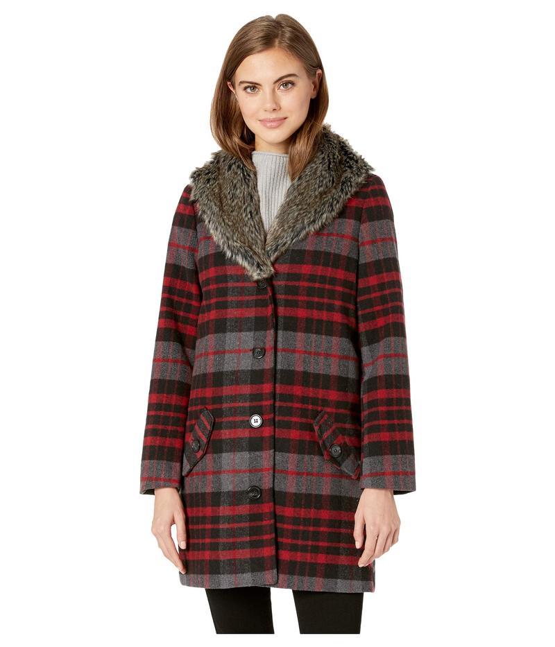 ジャック バイ ビービーダコタ レディース コート アウター Plaid Romance Brush Plaid Coat with Fur Collar Maroon