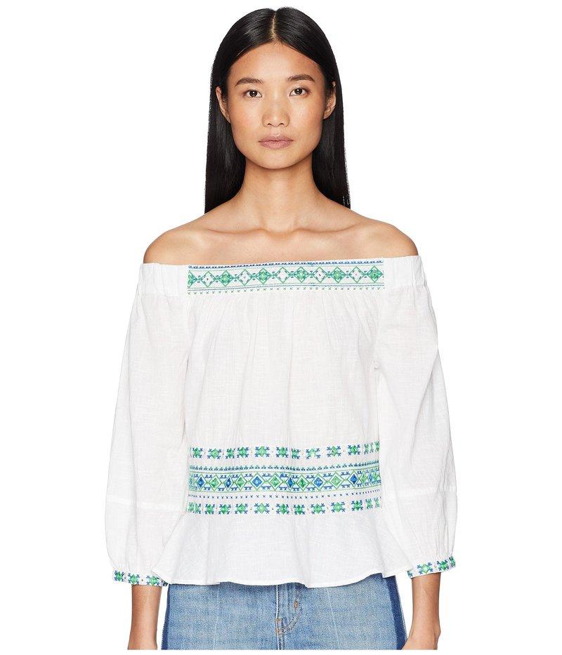 レタルト レディース シャツ トップス Off Shoulder Embroidered Top White Multi