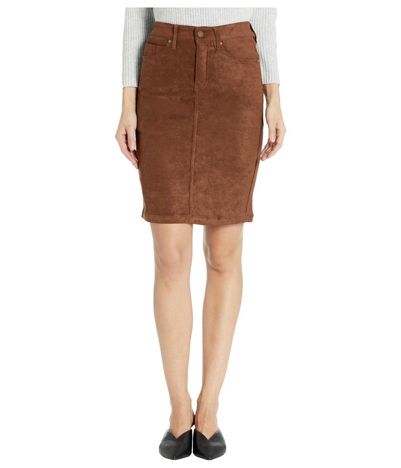 リバプール レディース スカート ボトムス Pencil Skirt in a Stretch Faux Suede Chocolate Brown
