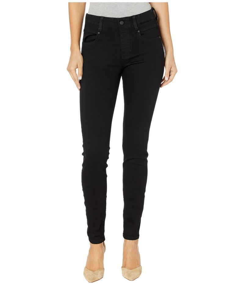 リバプール レディース デニムパンツ ボトムス Gia Glider/Revolutionary New Skinny Pull-On in Stretch Black Denim in Black Rinse Black Rinse