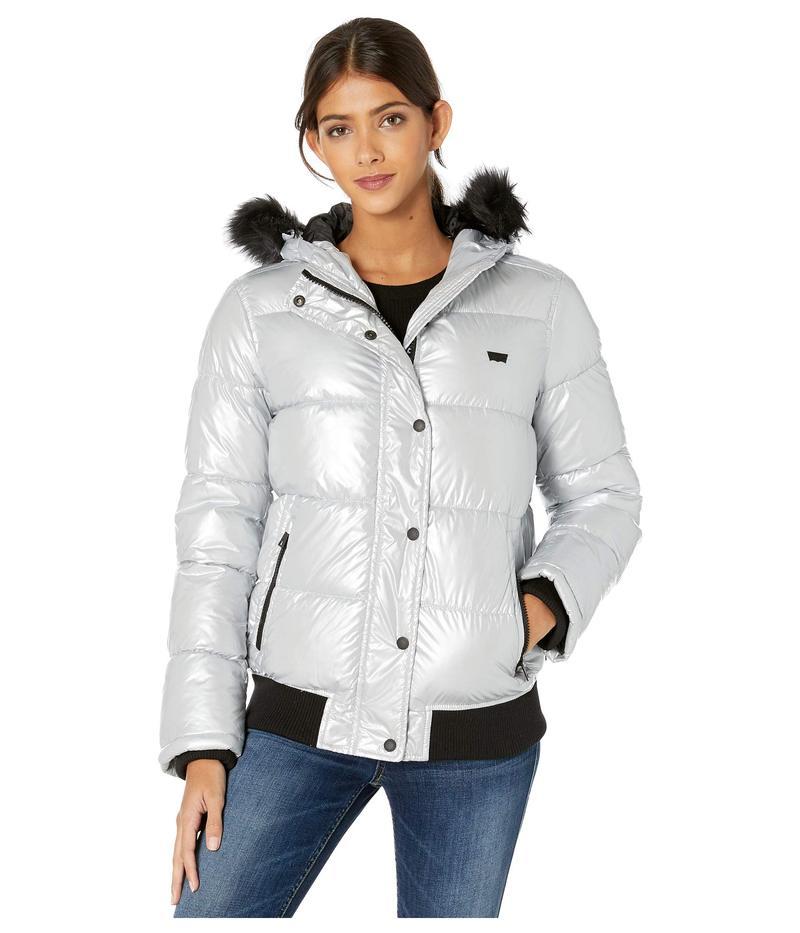 リーバイス レディース コート アウター Arctic Cloth Shortie Parka with Faux Fur Hood Silver