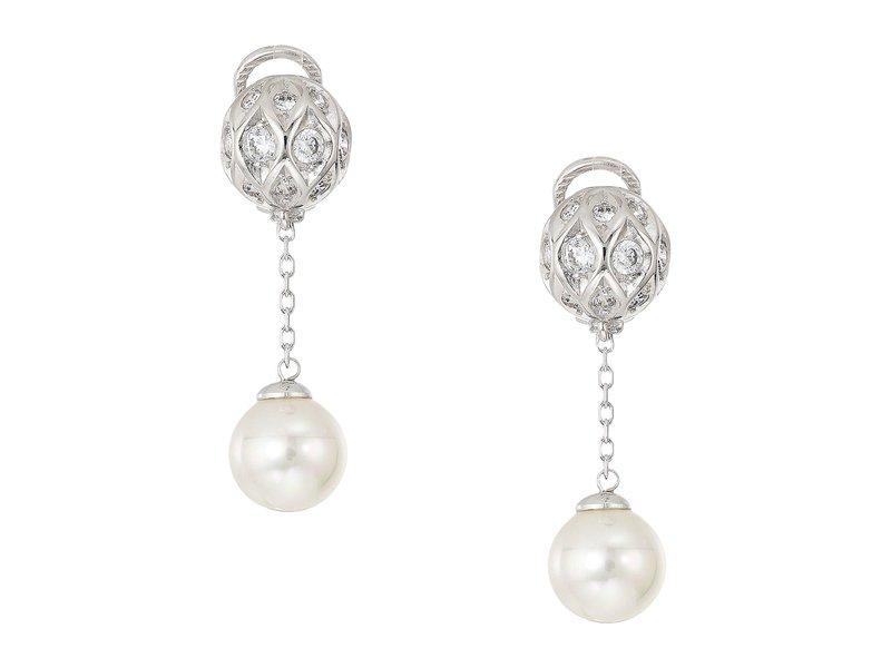 マジョリカ レディース ピアス・イヤリング アクセサリー 10mm Round Pearls and CZ Long Omega Earrings on Sterling Silver White