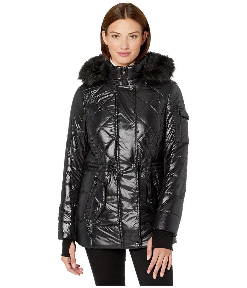 マイケルコース レディース コート アウター Active Polyfill with Faux Fur Trim Hood A420784TZ Black