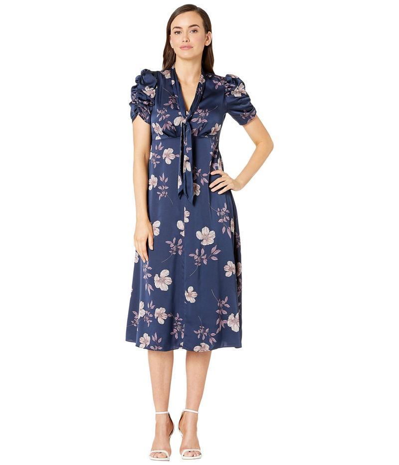 マギーロンドン レディース ワンピース トップス Dogwood Floral Printed Fit and Flare Dress Navy/Lavendar