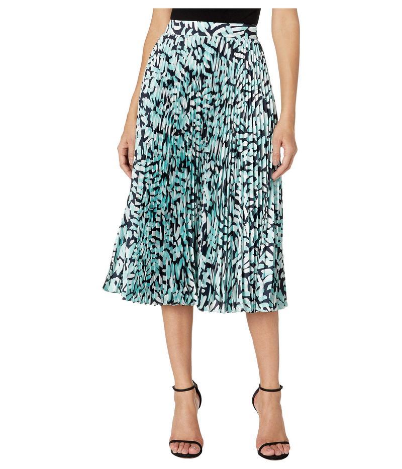 ミリー レディース スカート ボトムス Brushstroke Print on Twill Pleated Skirt Navy Multi