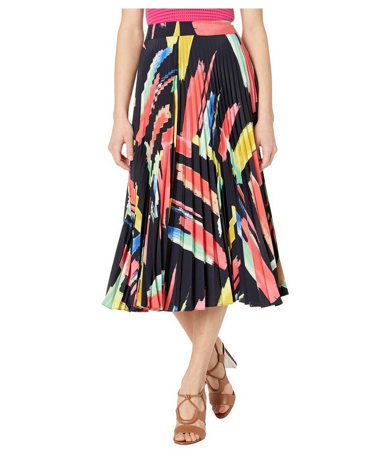 ミリー レディース スカート ボトムス Modern Brushstroke Print on Poly Twill Pleated Skirt Multi