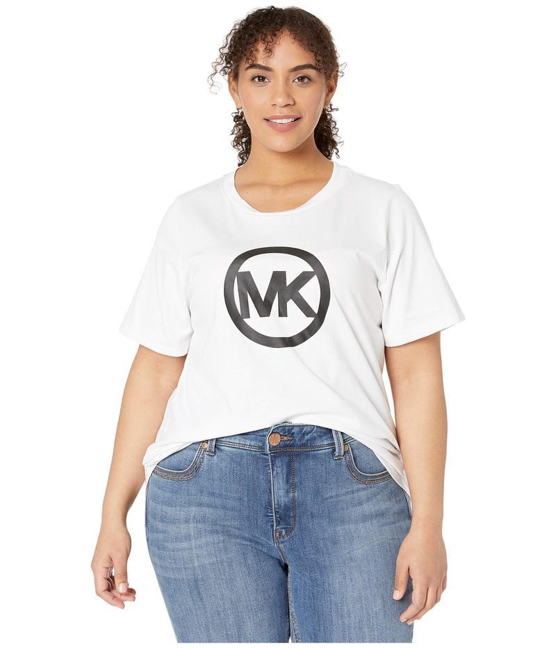 マイケルコース レディース シャツ トップス Plus Size Circle Logo Tee White