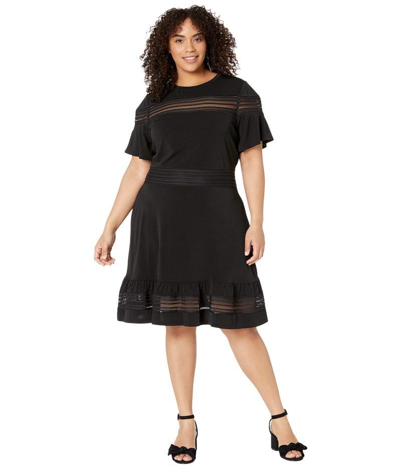 マイケルコース レディース ワンピース トップス Plus Size Mesh Mix Short Sleeve Dress Black