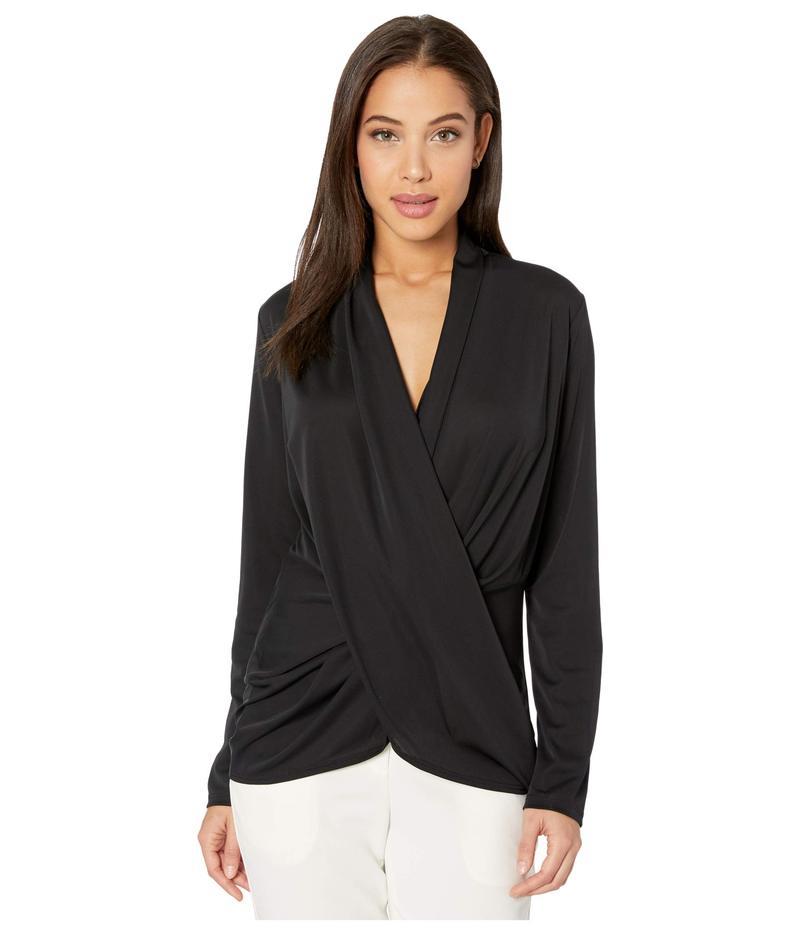 ニコルミラー レディース シャツ トップス Stretchy Matte Jersey Long Sleeve Drapey Top Black