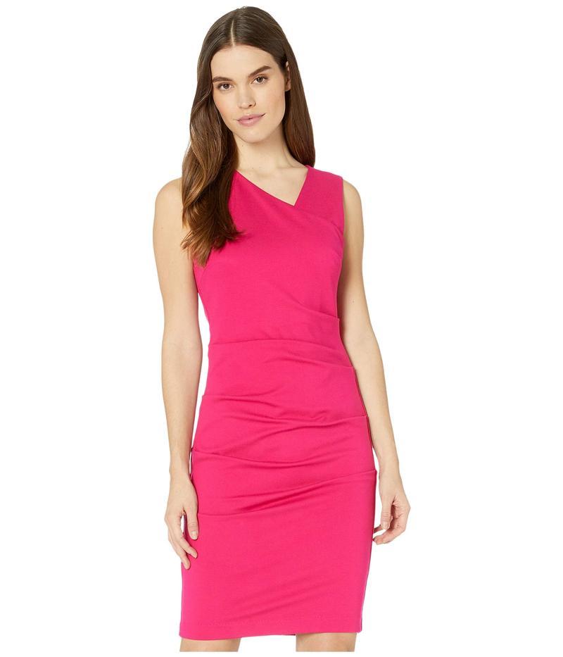 ニコルミラー レディース ワンピース トップス Ponte Asymmetrical Sleeveless Dress Fuchsia