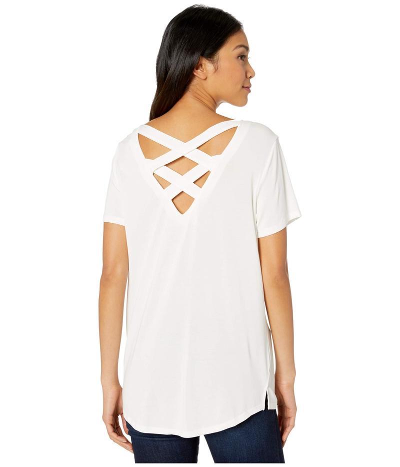 トリバル レディース シャツ トップス Short Sleeve Lace-Up Top White