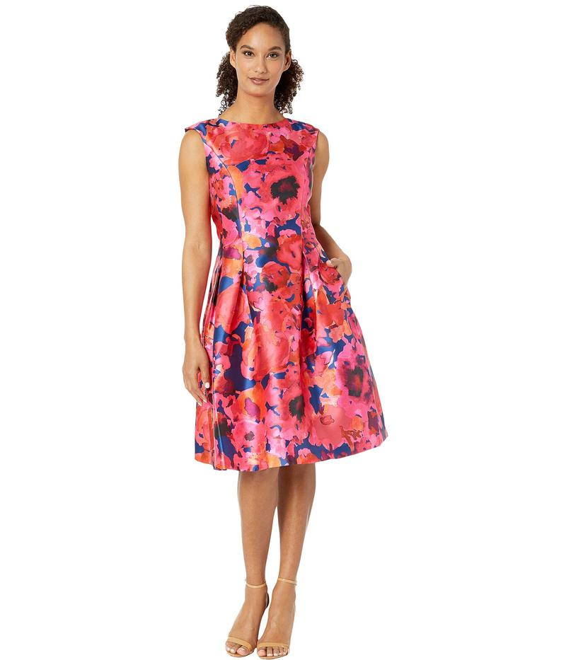 タハリ レディース ワンピース トップス Printed Mikado Sleeveless Party Dress Navy/Fuchsia/Coral