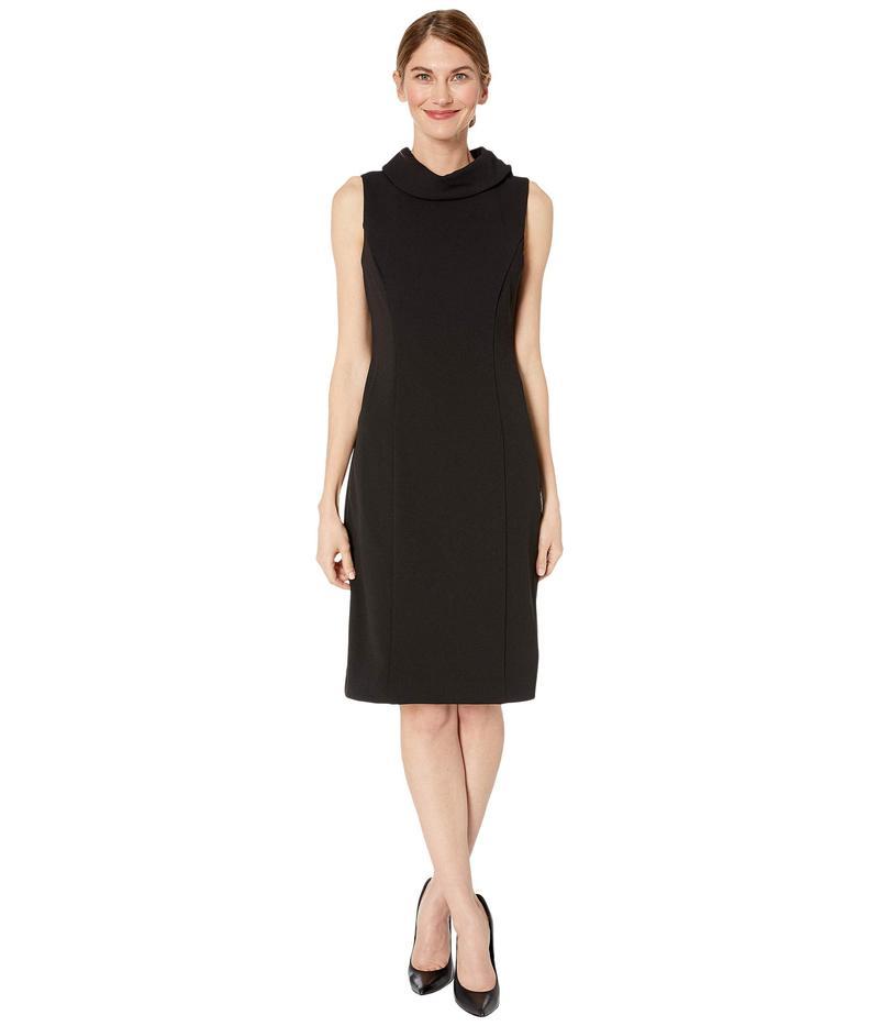 タハリ レディース ワンピース トップス Petite Sleeveless Stretch Crepe Sheath Dress with Envelope Collar Black