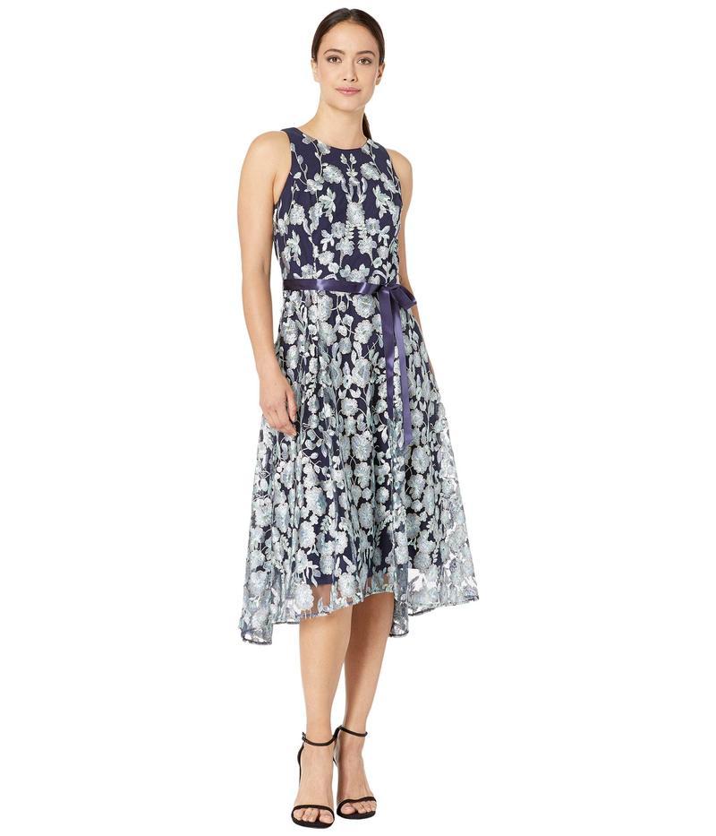 タハリ レディース ワンピース トップス Petite Flare Skirt Party Dress Navy Mint Floral
