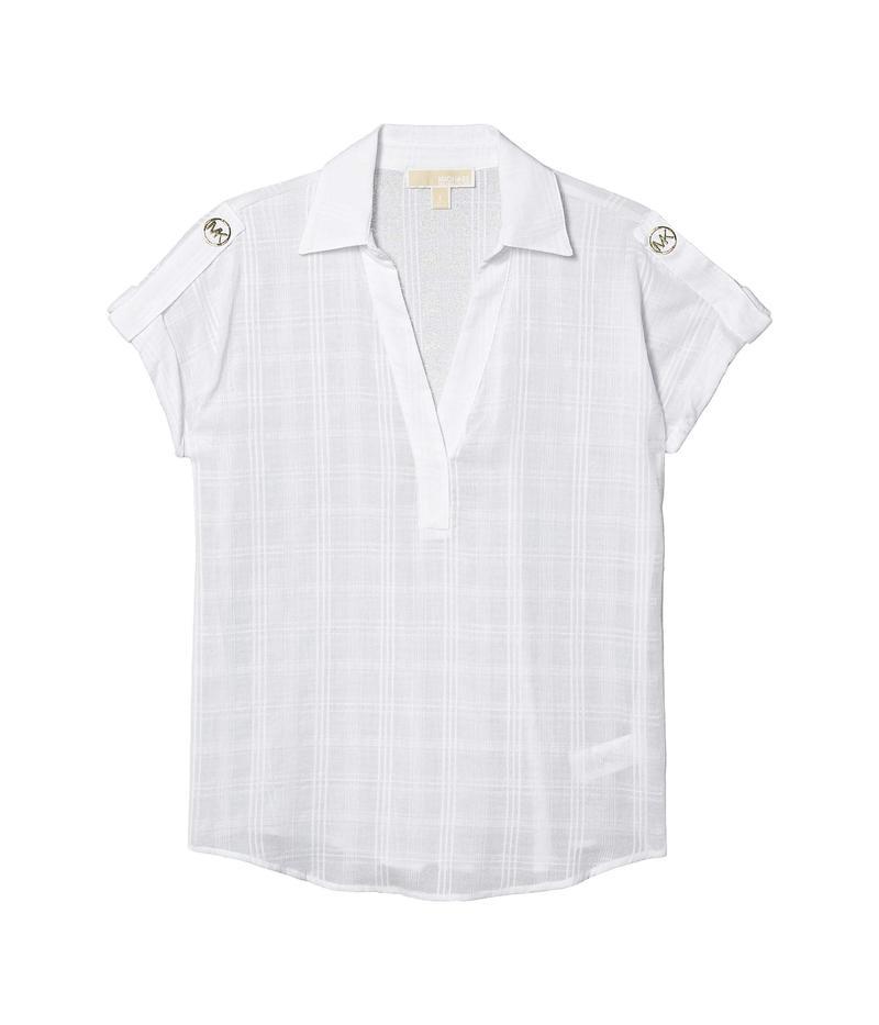 マイケルコース レディース シャツ トップス Roll Tab Sleeve Popover White