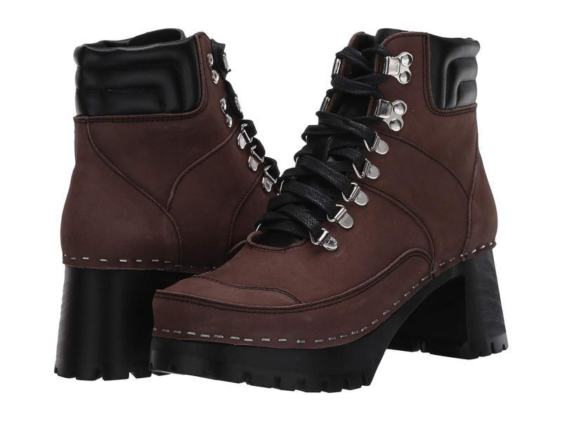 スウェディッシュハズビーンズ レディース ブーツ・レインブーツ シューズ Trail Boot Clog Black/Chocolate Nubuck Combo