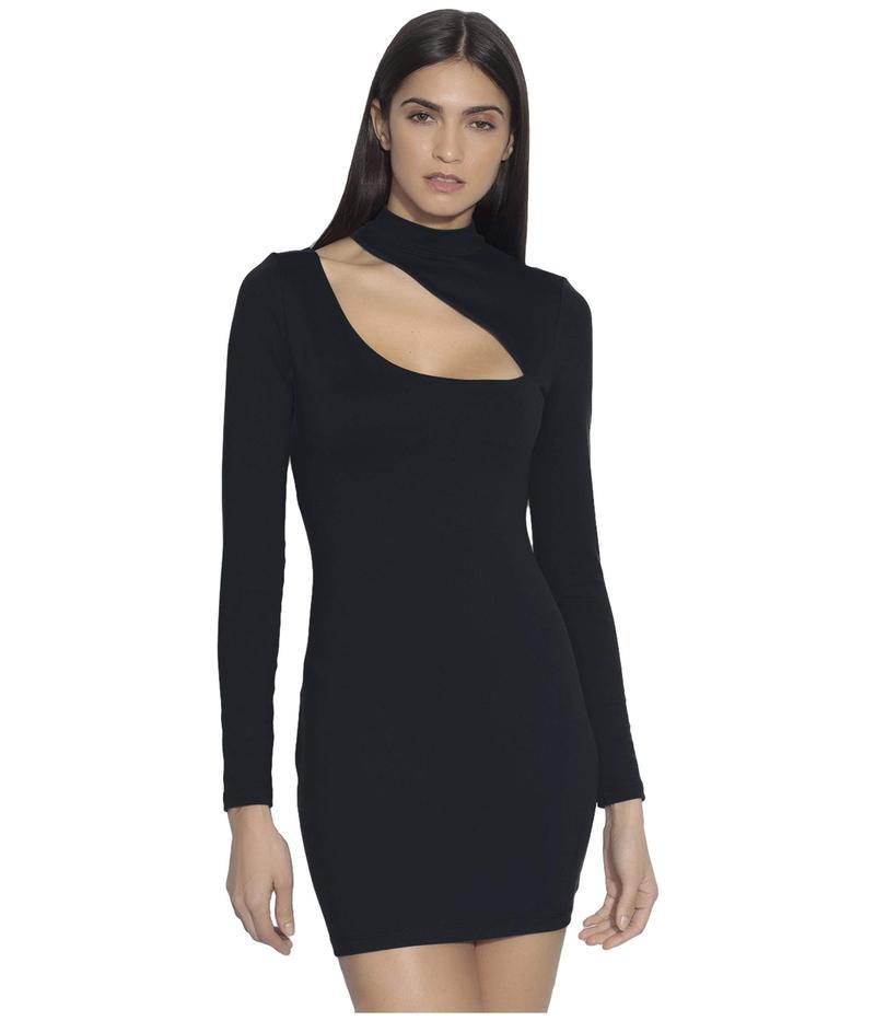 スサナモナコ レディース ワンピース トップス Long Sleeve Mock Neck Slash Front Dress Black