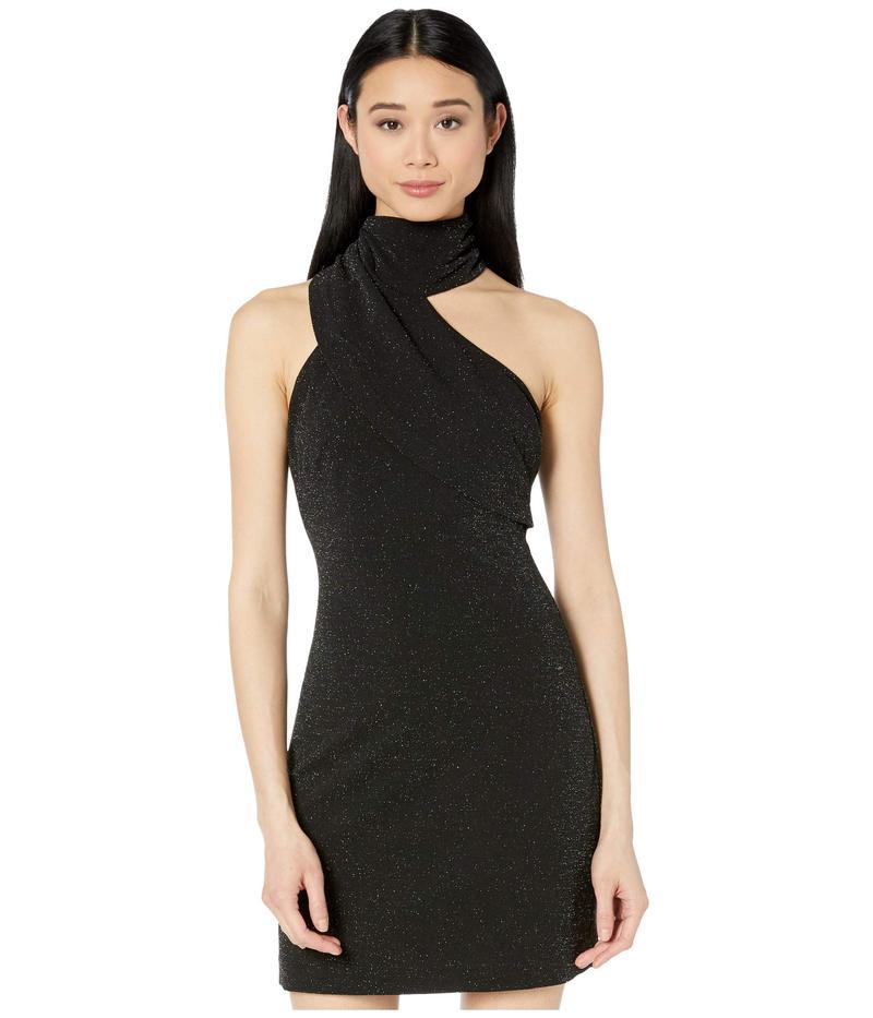 バッジェリーミシュカ レディース ワンピース トップス Twinkle Crepe Fitted Asymmetrical Cocktail Dress Black